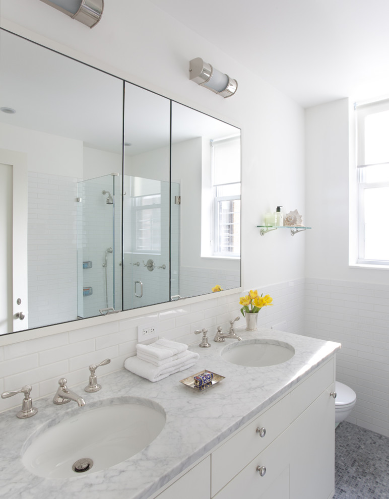 robern Bathroom Contemporary with double sink glass shower enclosure marble counter mirror cabinet mosaic tile floor