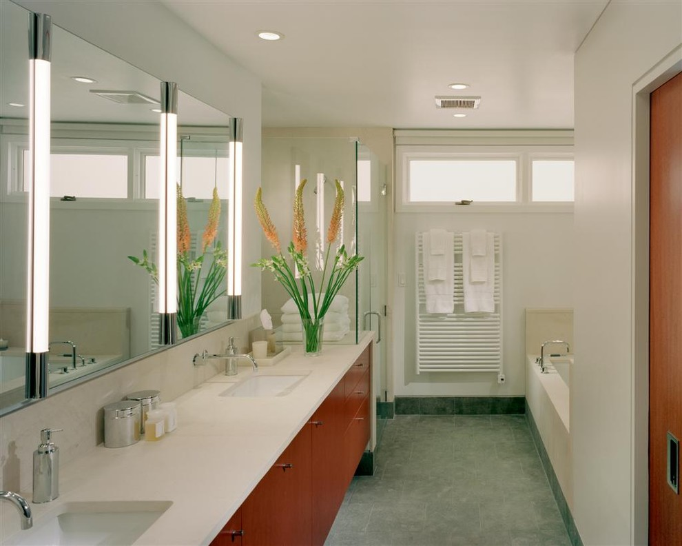 Robern Bathroom Modern with Ceiling Lighting Double Sinks Double Vanity Floral Arrangement Frameless Shower Enclosure Neutral