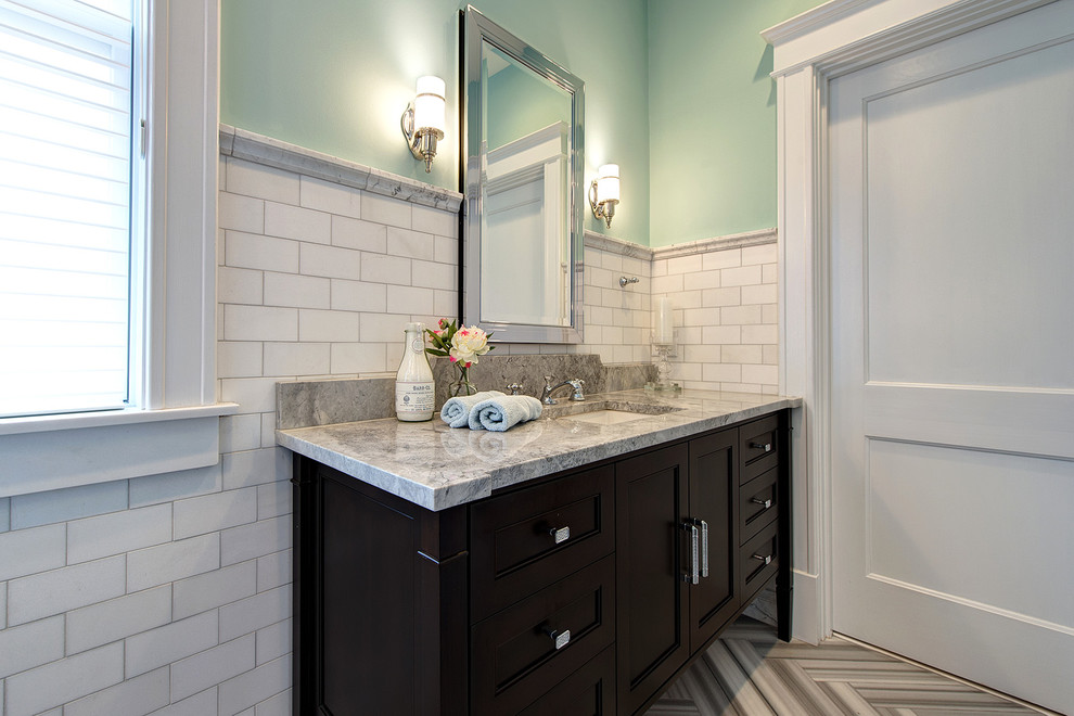 Robern Bathroom Traditional with Bathroom Mirror Console Vanity Granite Counter Tops Light Green Walls Marble Subway1