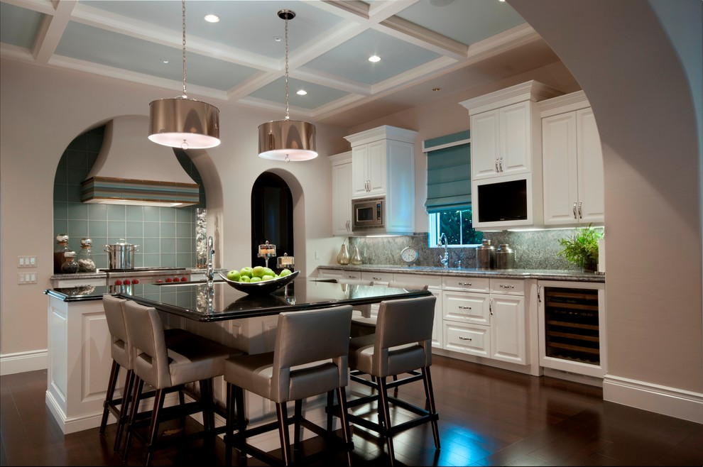 robert abbey lighting Kitchen Contemporary with aqua backsplash tile aqua roman shades arch doorway black countertop coffered ceiling
