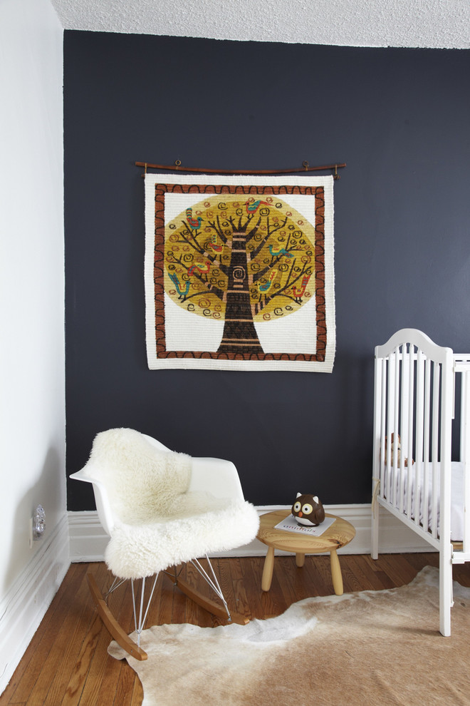 Rocker Chair Kids Contemporary with Accent Wall Animal Skin Art Baby Bed Blue Blue Paint Blue Wall