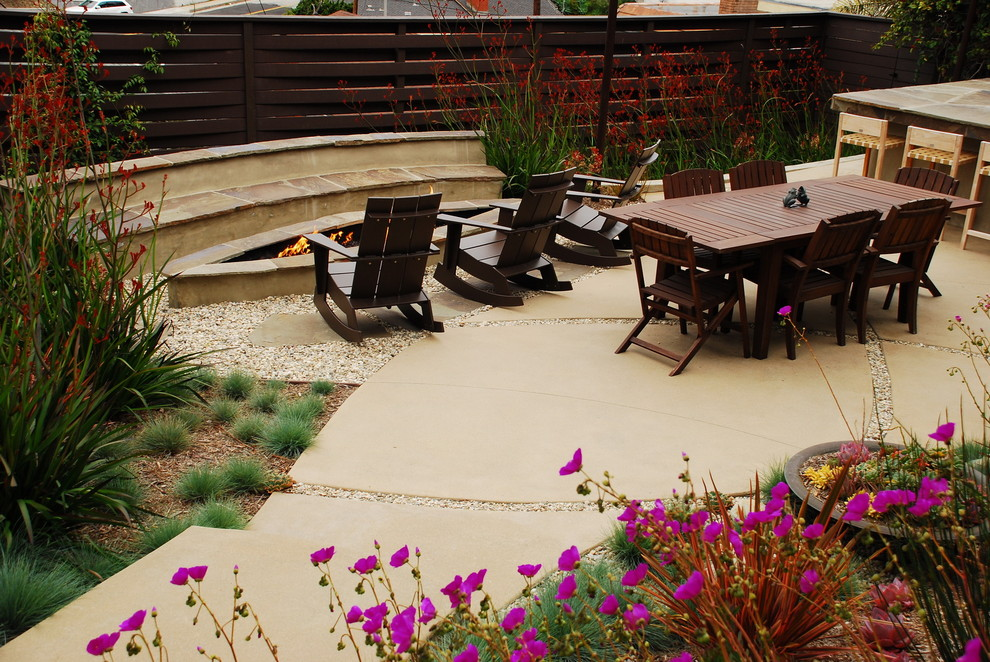 Rocker Chair Landscape Modern with Adirondack Chairs and Fence Backyard Backyard Landscape Remodel to Include Bu Bench