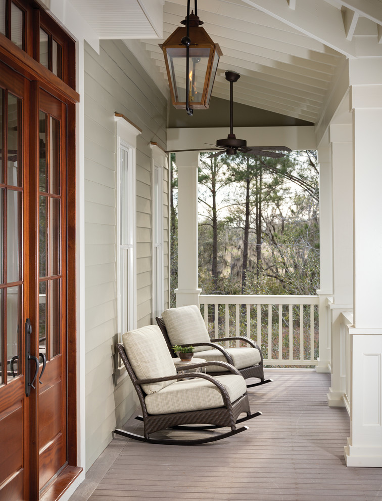 Rocker Chair Porch Traditional with Entry Gray Siding Lanterns Outdoor Ceiling Fan Rocking Chairs White Railing