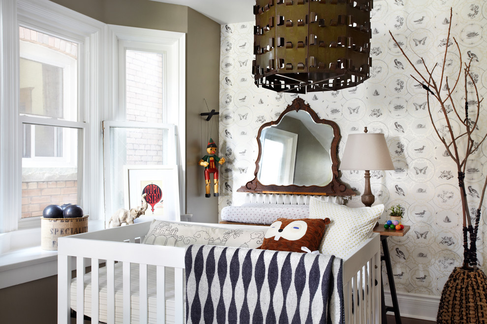 Rocker Glider Nursery Contemporary with Baby Room Bay Window Crib Lisa Petrole Photography Marionet Mirror Nursery Pendant