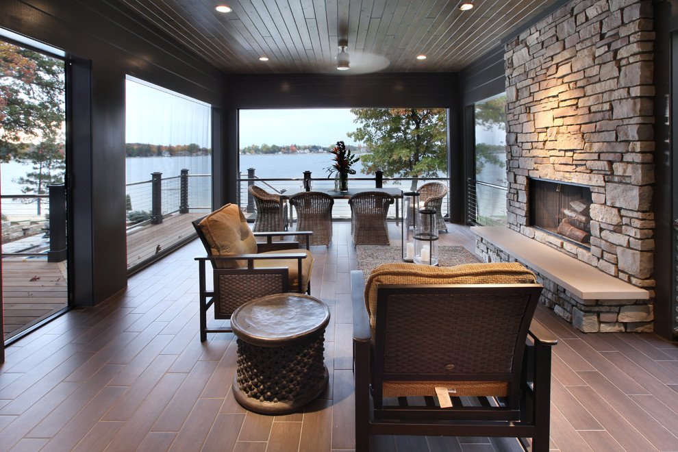 Rocker Glider Porch Contemporary with Accent Table Brown Seat Cushions Deck Hearth Bench Lake View Outdoor Chairs