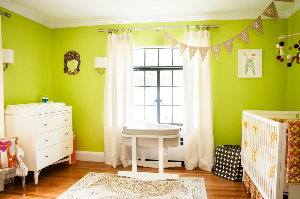 Rocking Bassinet Nursery Shabby Chic with Baby Mobile Bassinet Beige Rug Changing Table Crib Bedding Kids Decor Lime