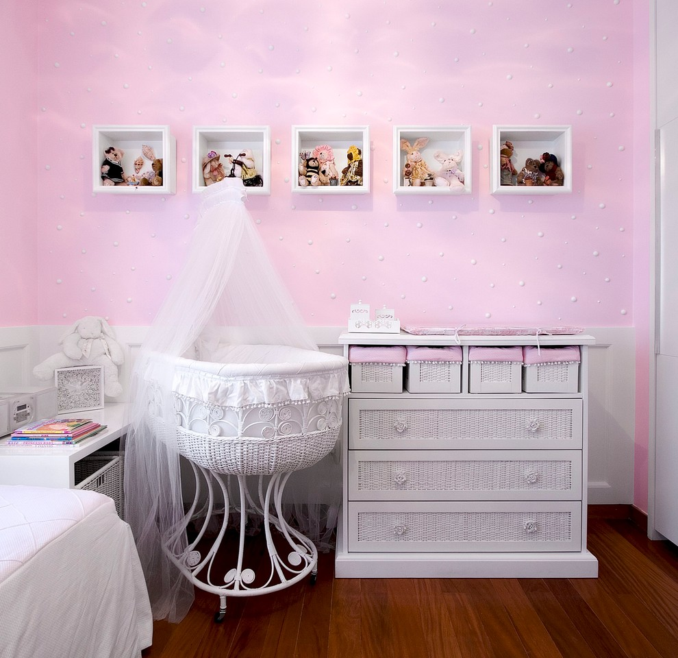 Rocking Bassinet Nursery Traditional with Baby Bassinet Chest of Drawers Dresser Girls Room Kids Mosquito Net Nursery