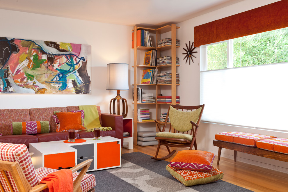 rocking chair cushions Family Room Midcentury with bench seating bookshelf bright colors Custom bookcases custom pillows cushions flor carpet