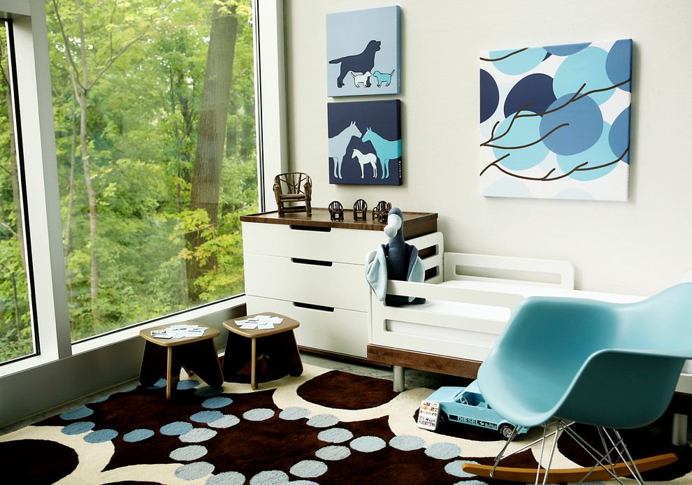 rocking chair for nursery Nursery Contemporary with art for boy room avalisa Avalisa Design blue accents blue nursery clean
