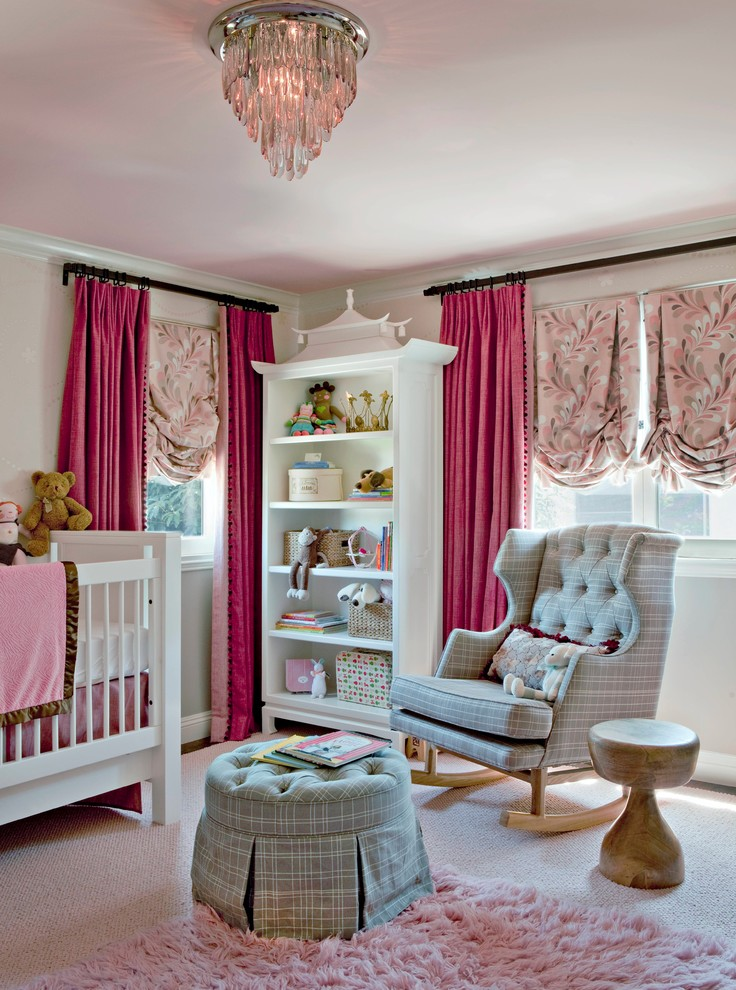 Rocking Chair for Nursery Nursery Traditional with Bookcase Chandelier Crib Curtains Ottoman Pink and Gray Rocking Chair Shag Rug
