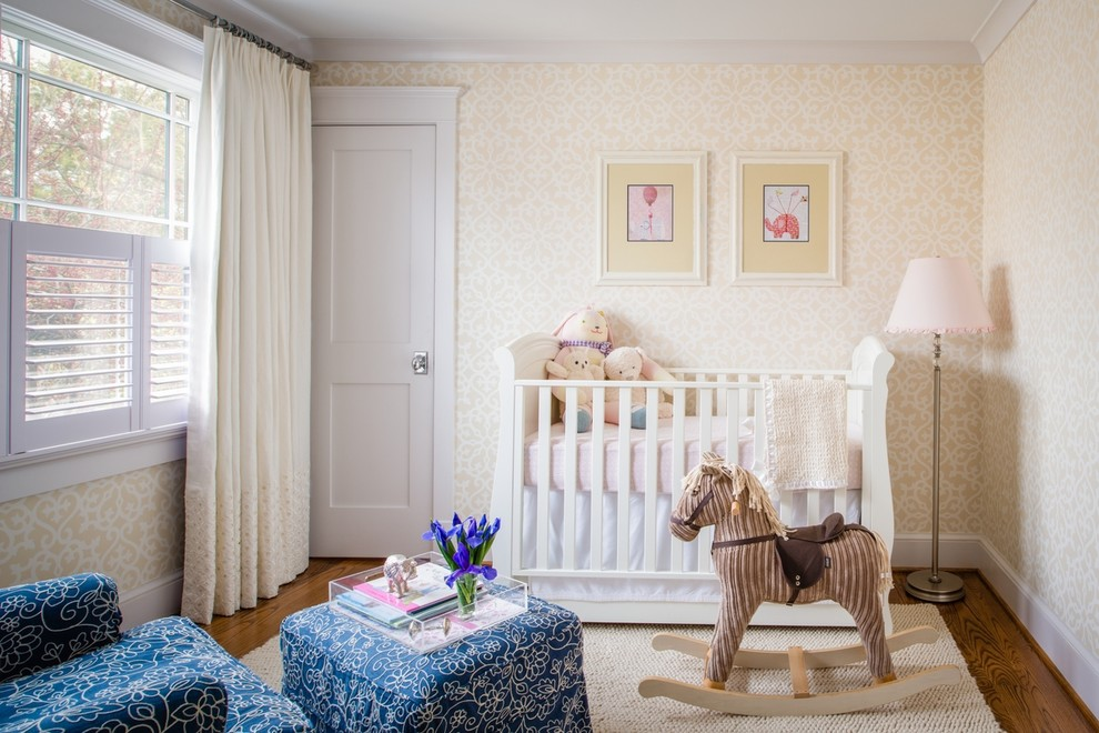Rocking Horses Nursery Traditional with Area Rug Chrome Door Hardware Chrome Drapery Rods Contrast Banding Cowtan Tout