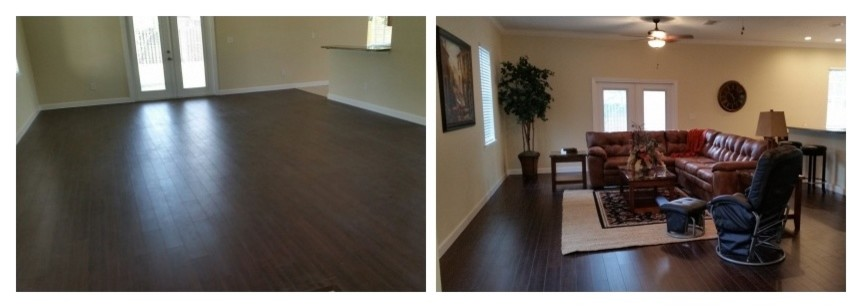 Rocking Recliner Family Room with Before and Afters Faux Tree for Sale Home Staging Large Leather Sectional1