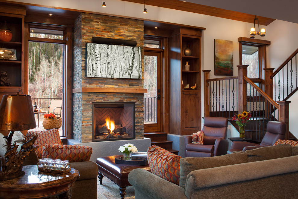 Rocking Recliner Living Room Rustic with Built in Cabinets Built in Cabinetry Storage for Media E Cabin Display Shelves