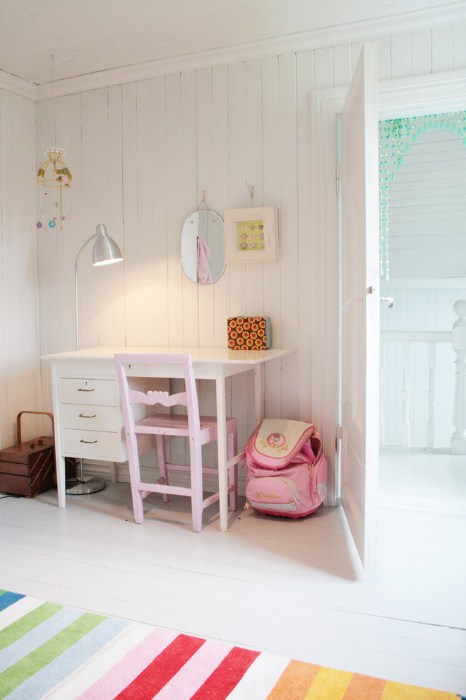 Rolling Backpacks for Girls Kids Eclectic with Bedroom Mobile Painted Wood Rainbow Rug Wall Decor White Floor White Wood