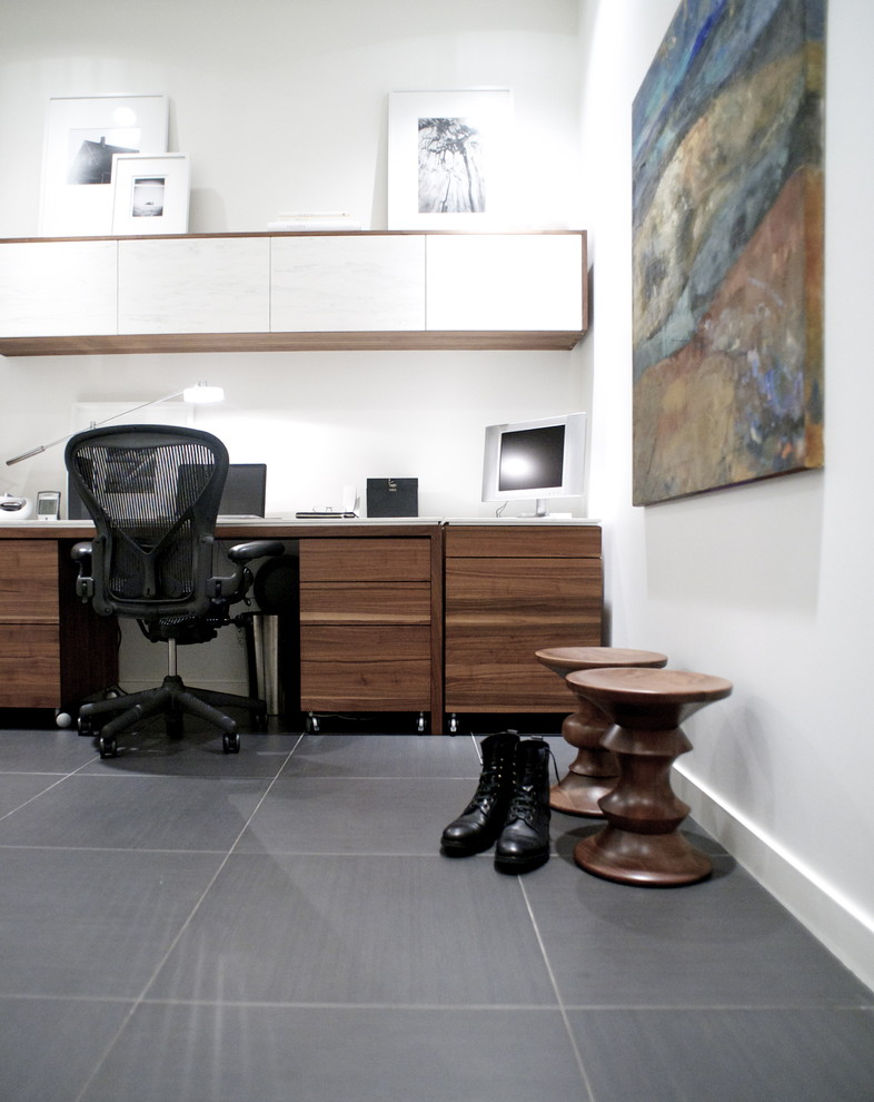 rolling file cabinet Home Office Modern with Art black swivel chair built-in desk built-in storage grey tile large tile