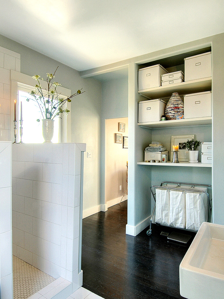 Rolling Laundry Cart Bathroom Contemporary with Dark Stained Wood Floor Hexagon Tile Laundry Hamper Light Blue Open Shelving