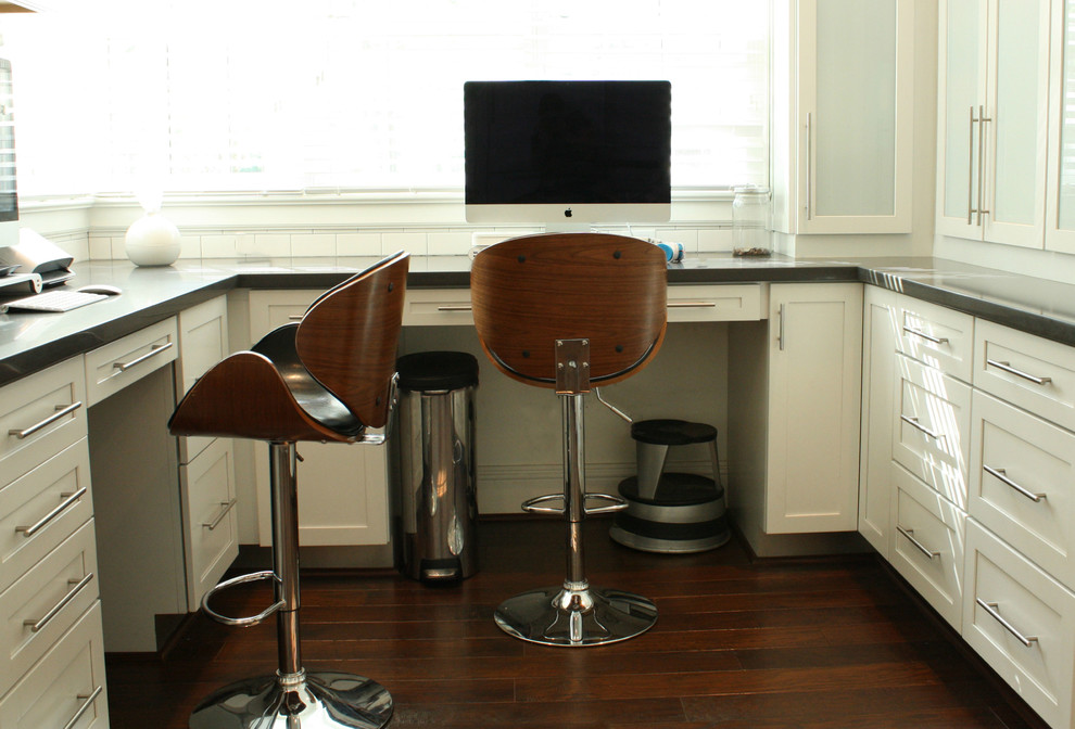Rolling Stool Home Office Transitional with Bar Pulls Built in Desk Dark Wood Floor Drawer Pulls Garbage Can Home1