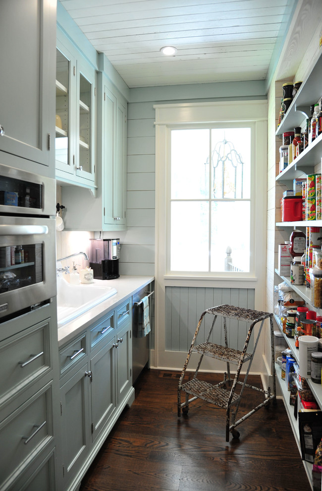 rolling stool Kitchen Farmhouse with beadboard ceiling Carpenter Gothic farmhouse gray beadboard walls gray shaker cabinets open
