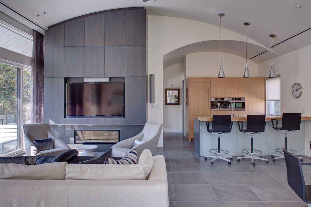 Rolling Stool Living Room Modern with Barrel Ceiling Beige Sofa Beige Wall Built in Entertainment Center Built in Media Console1
