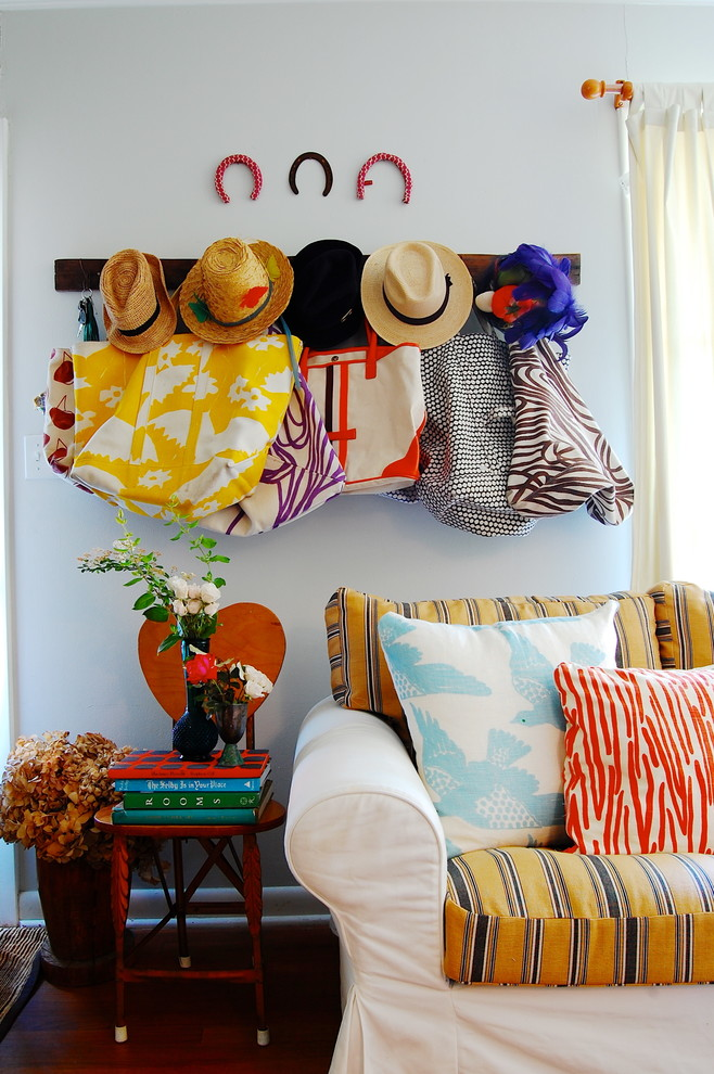 Rolling Tote Entry Eclectic with Antiques Art Baseboard Bird Pattern Bold Bright Brown Coat Rack Colorful Creative
