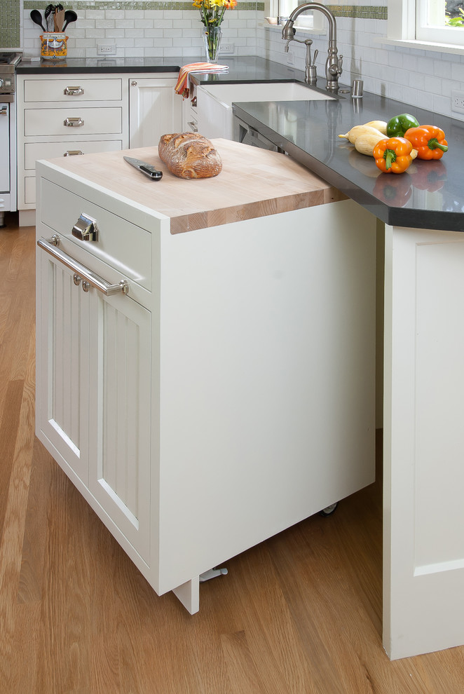Rolling Tote Kitchen Traditional with Apron Sink Beadboard Butcher Block Countertops Farmhouse Sink Kitchen Kitchen Cart Kitchen