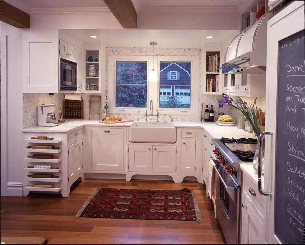 Rolling Tote Kitchen Traditional with Apron Sink Chalkboard Fridge Collection Exposed Beams Farmhouse Sink Glass Door Cabinets