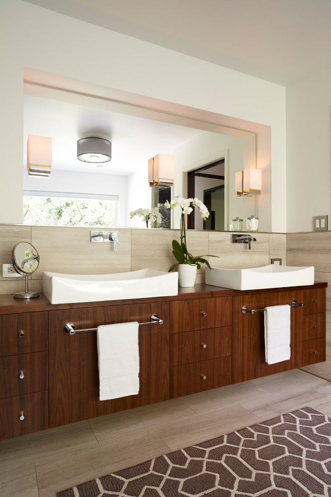 Ronbow Bathroom Contemporary with Beige Tile Floor Beige Tile Wall Brown Area Rug Floating Vanity Makeup