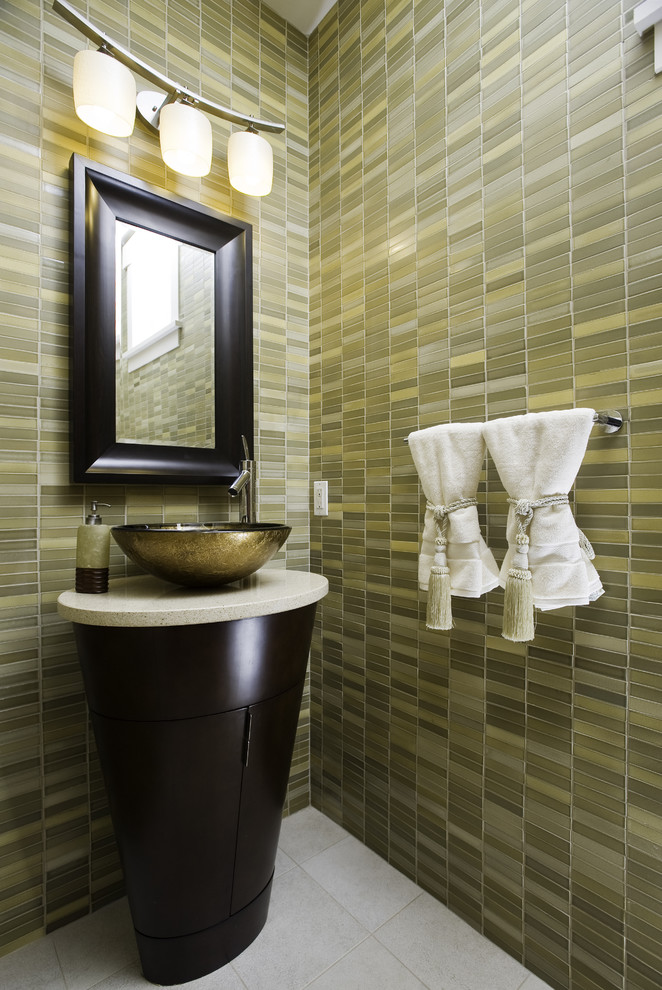 Ronbow Bathroom Contemporary with Dark Stained Wood Floor to Ceiling Tile Green Metallic Sink Pedestal Sink