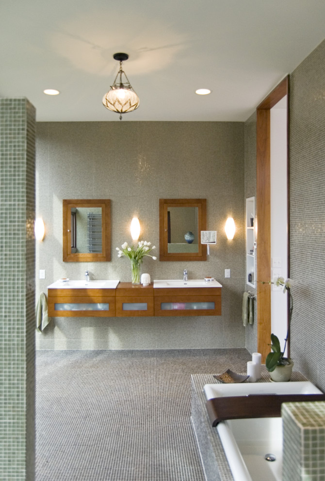 Ronbow Bathroom Modern with Bathroom Lighting Bathroom Mirror Bathroom Tile Ceiling Lighting Double Sinks Double Vanity