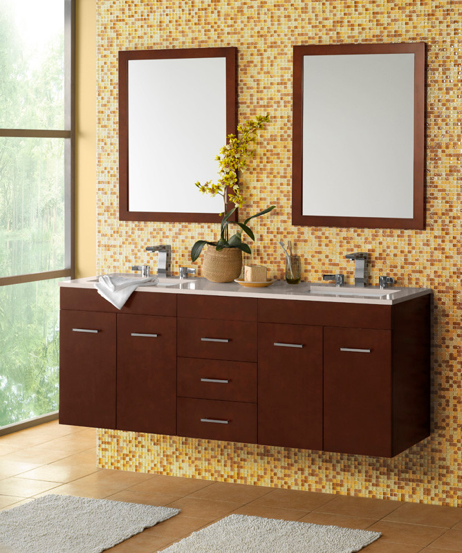 Ronbow Vanities Bathroom Contemporary with Bella Contemporary Counter Floating Vanity Mirror Modern Sink Vanity