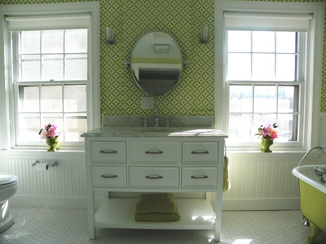 Ronbow Vanities Bathroom Traditional with Beadboard Blast of Color Brackets Bright Charming Chrome Clawfoot Daughter Drawers Easy