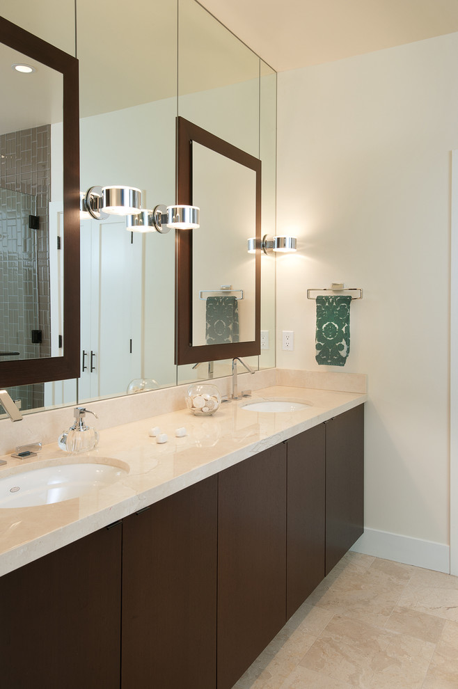 Ronbow Vanity Bathroom Modern with Clean Lines Custom Cabinetry Double Sinks Double Vanity Sink Haldi Construction Marble