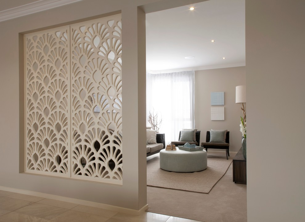 room divider screen Living Room Contemporary with beige carpet beige rug divider dividing wall ivory screen laser light blue