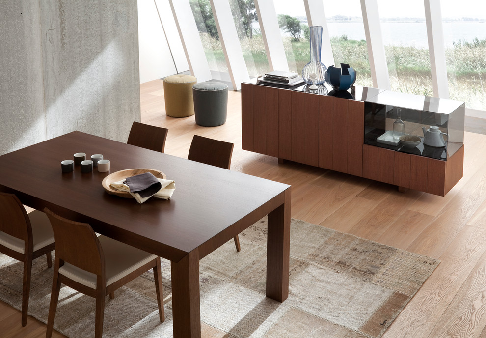 Rossetto Furniture Dining Room Midcentury with Buffet Console Dining Earth Tones Glass Natural Sideboard Table Wood
