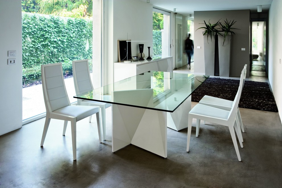 Rossetto Furniture Dining Room Modern with Buffet Console Dining Glass Natural Sideboard Table White Wood