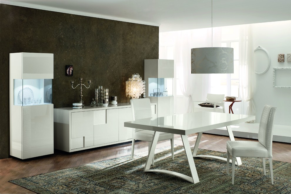Rossetto Furniture Dining Room Modern with Buffet Console Contemporary Dining Glass Modern Sideboard Simple Table White Wood