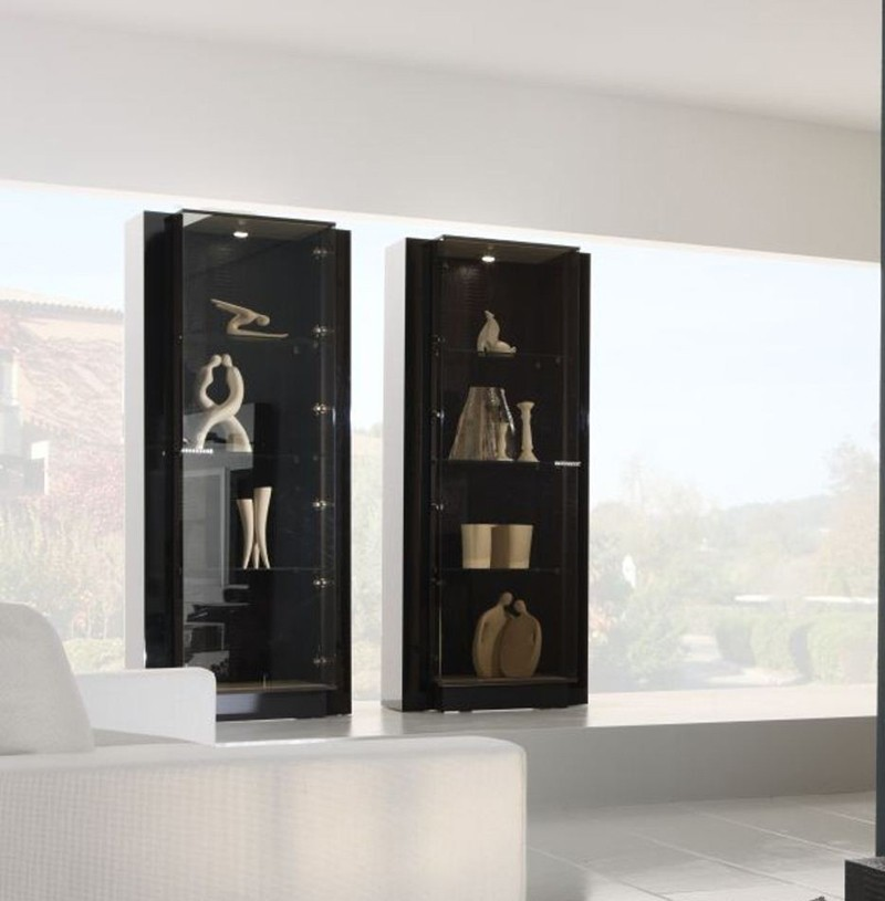 Rossetto Furniture Living Room Contemporary with Diamond Collection Curio Black Lacquer Finish Inlays and Com
