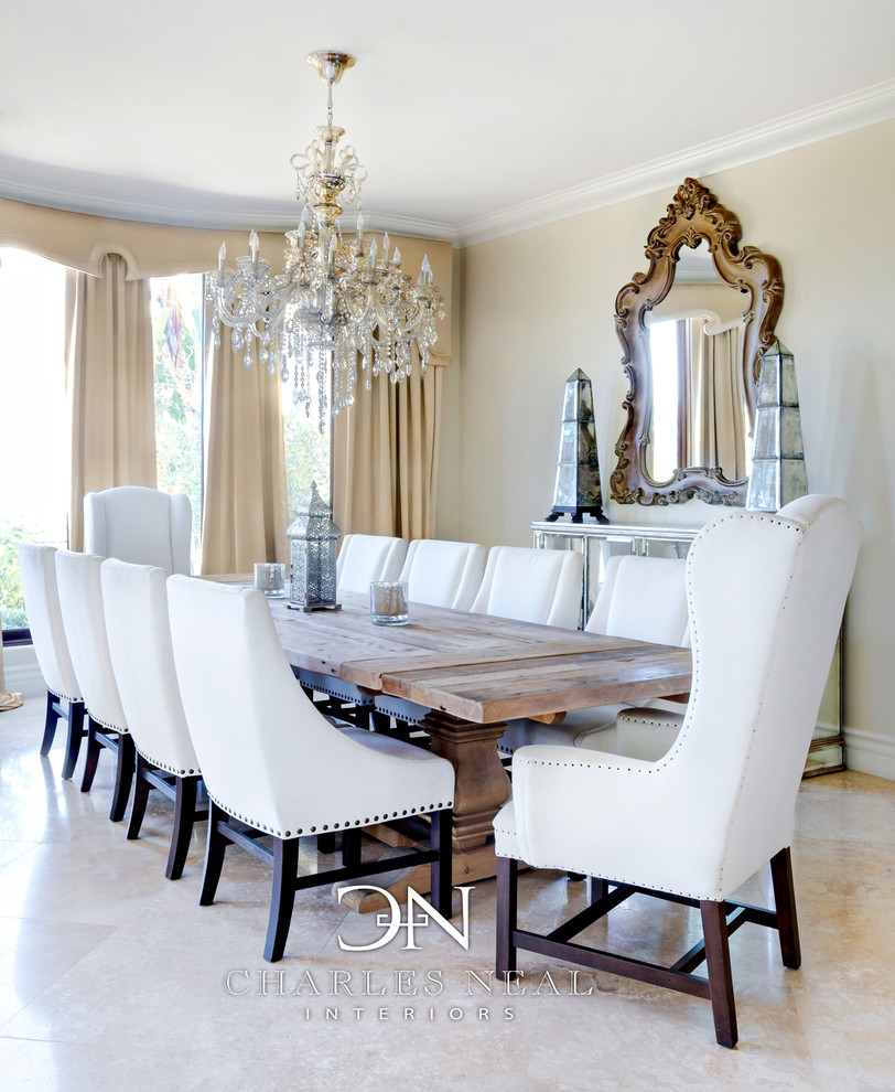 Round Dining Table with Leaf Dining Room Transitional with Boho Chandelier Chic Cornice Dining Room Drapery Glam
