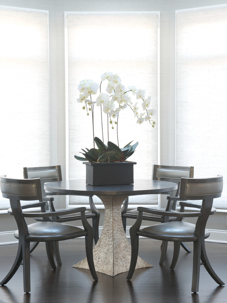 Round Dining Table with Leaf Dining Room Transitional with Grays Klidmos Chairs Modern Classics Modern Luxurious Residencemodern Glam Modern Update Neutrals