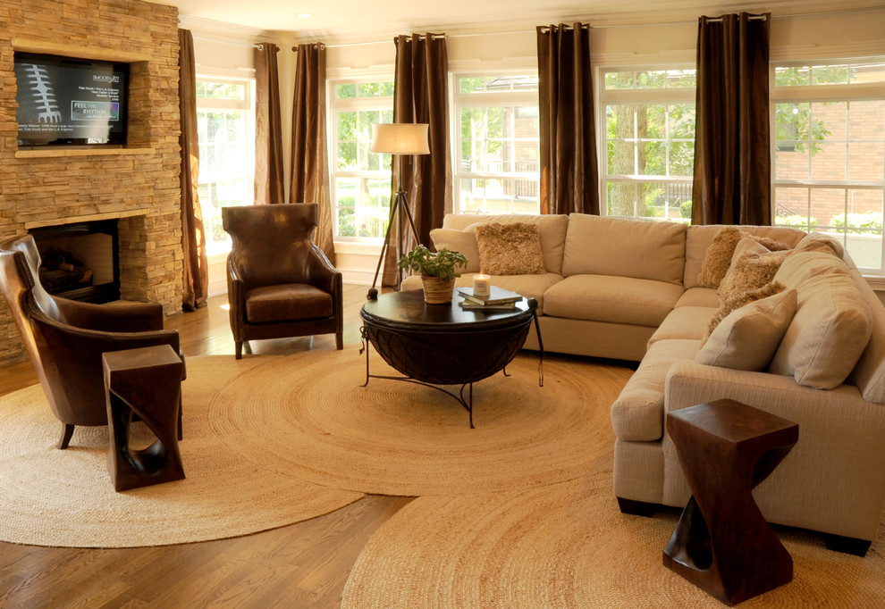 Round Jute Rug Living Room Contemporary With Armchair Brown Curtains Built In Tv Coffee Table