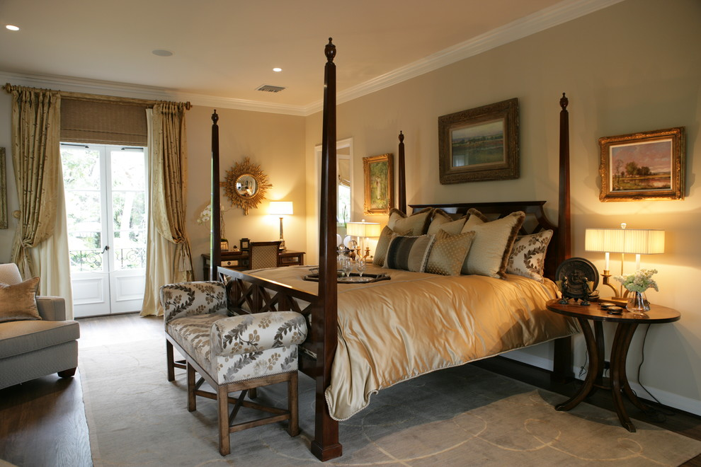 Round Nightstand Bedroom Traditional with Armchair Beige Walls Bench Foot of Bed Four Poster Bed French Doors