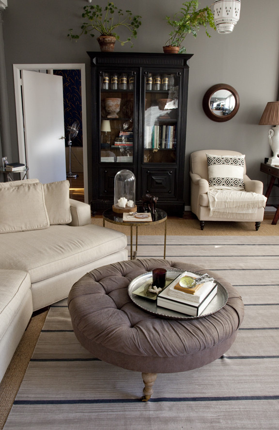 round ottoman Family Room Eclectic with none