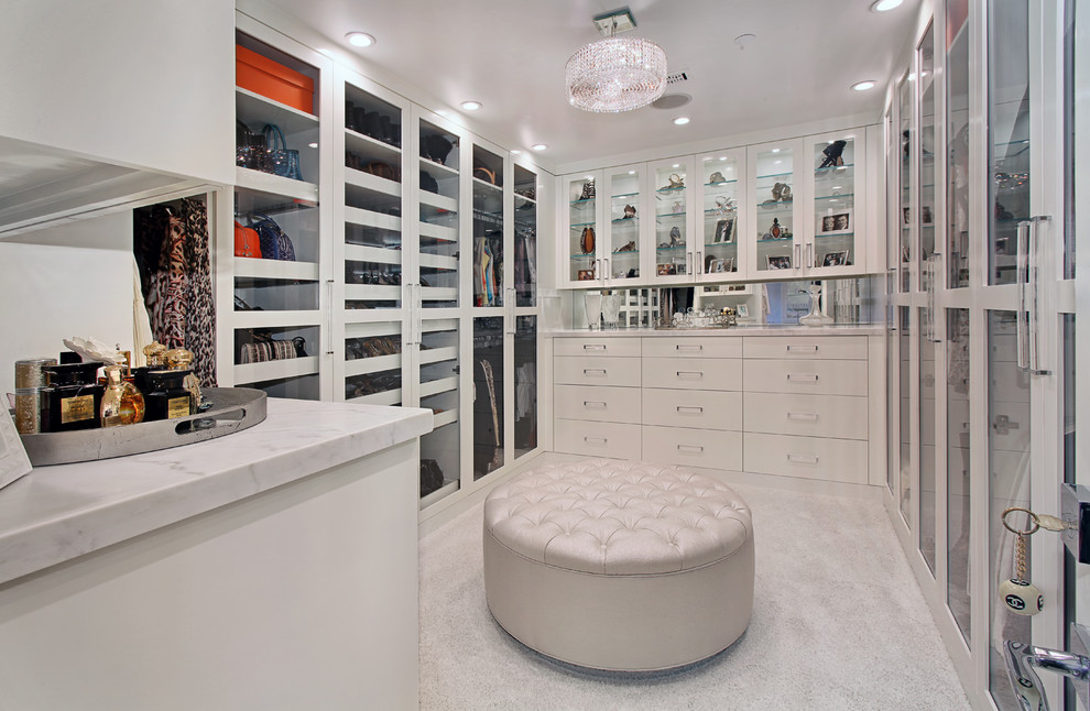 Round Ottoman with Storage Closet Contemporary with Crystal Ceiling Light Glass Shelves Recessed Lighting Round Ottoman Shoe Storage Tufted
