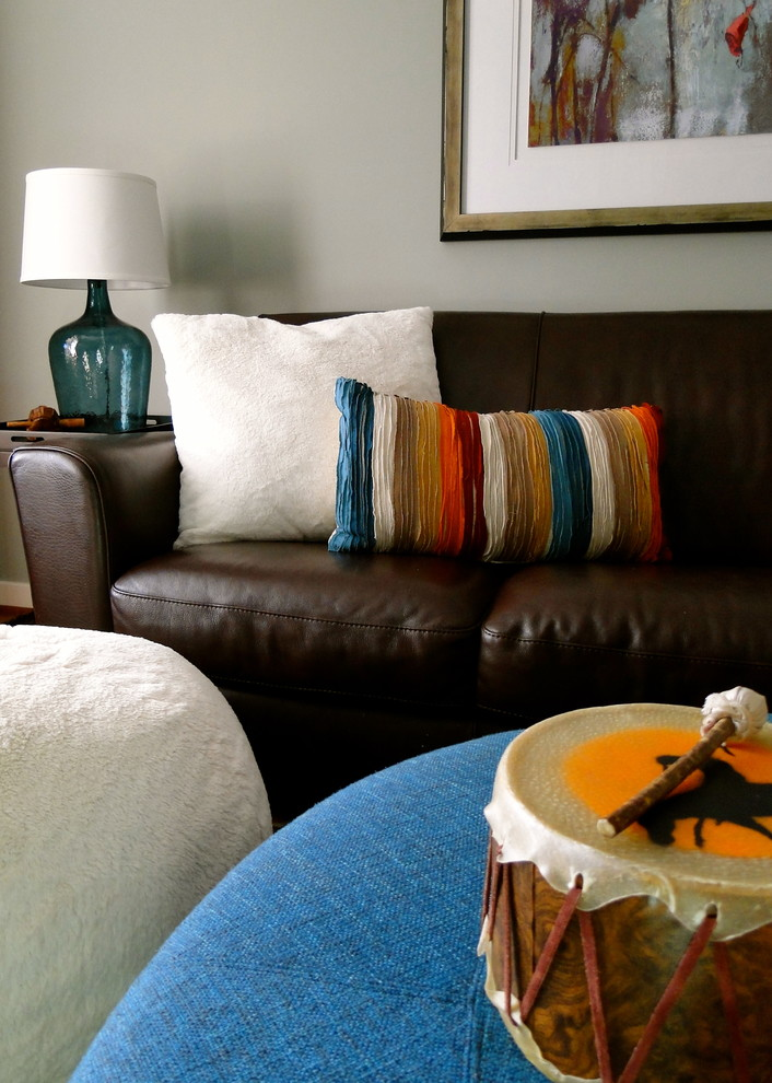 Round Ottoman with Storage Spaces Eclectic with Accent Pillows Art Art Prints Bean Bag Blue Bins Blue Glass Lamp