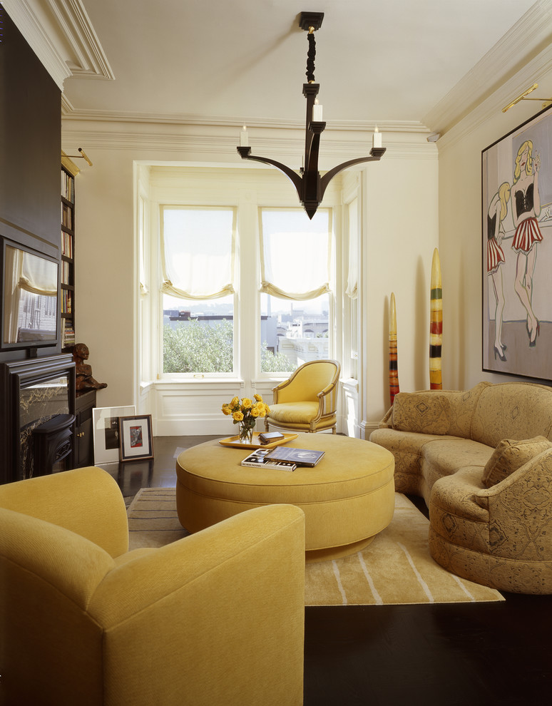 Round Ottomans Living Room Eclectic with Accent Wall Brown Chocolate Eclectic Living Room Study Library B Large Painting