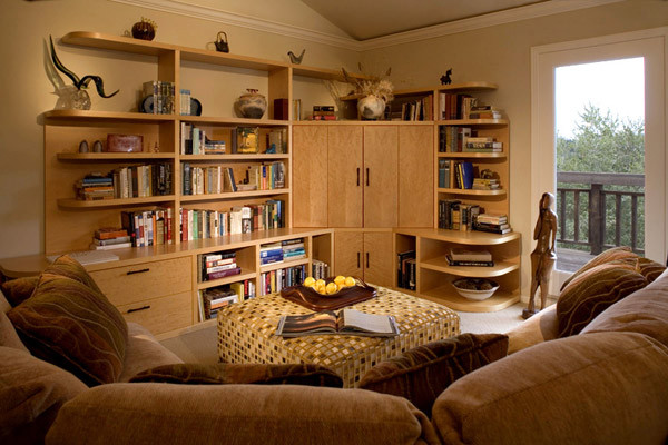 round sectional sofa Family Room Asian with area rug Art asian furniture asian inspiration book storage bookcase books built
