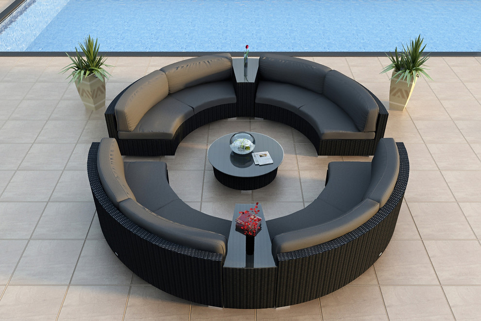 Round Sectional Sofa Patio Modern with All Weather Circular Wicker Sectional Contemporary Curved Outdoor Sectional Sofa Set Hl Urbn E 7sect