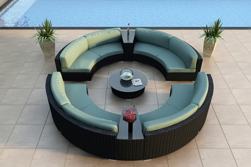 Round Sectional Sofa Patio Modern with All Weather Circular Wicker Sectional Contemporary Curved Outdoor Sectional Sofa Set Hl Urbn E 7sect1