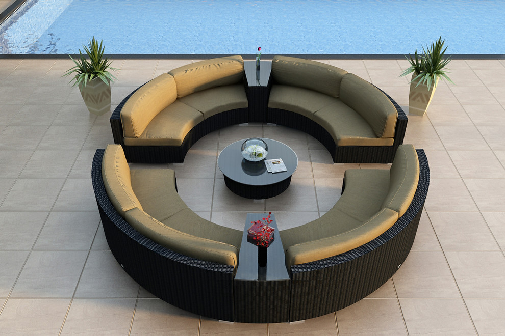 Round Sectional Sofa Patio Modern with All Weather Circular Wicker Sectional Contemporary Curved Outdoor Sectional Sofa Set Hl Urbn E 7sect2