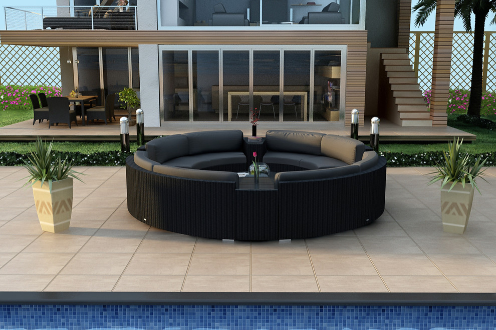 Round Sectional Sofa Patio Modern with All Weather Circular Wicker Sectional Contemporary Curved Outdoor Sectional Sofa Set Hl Urbn E 7sect3